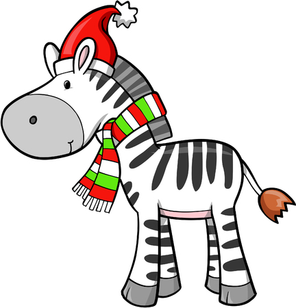 Christmas Holiday Zebra Vector Illustration