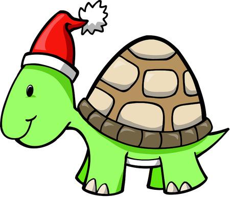 Christmas Holiday Turtle Vector Illustration