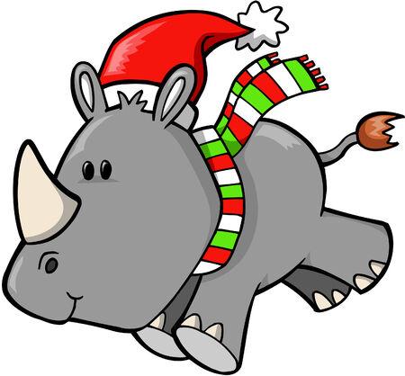 Christmas Holiday Safari Rhino Vector Illustration