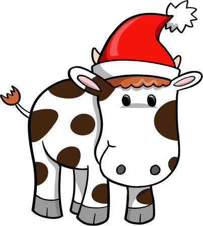 Christmas Holiday Cow Vector Illustration