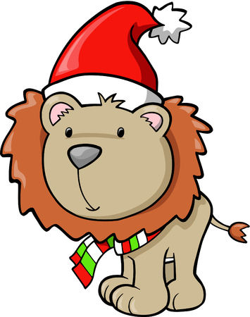 plains: Christmas Holiday Lion Vector Illustration