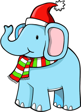 Christmas Holiday Elephant Vector Illustration