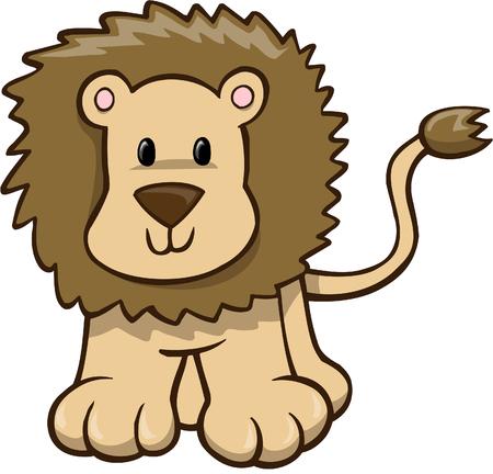 Safari Lion Vector Illustration Ilustração