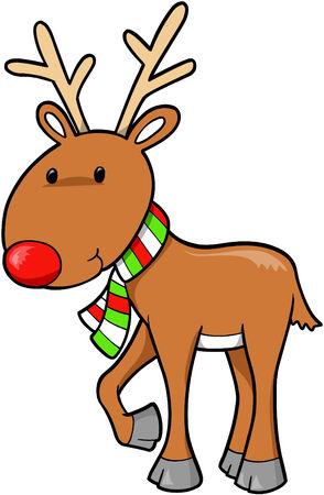 Christmas Holiday Reindeer Vector Illustration