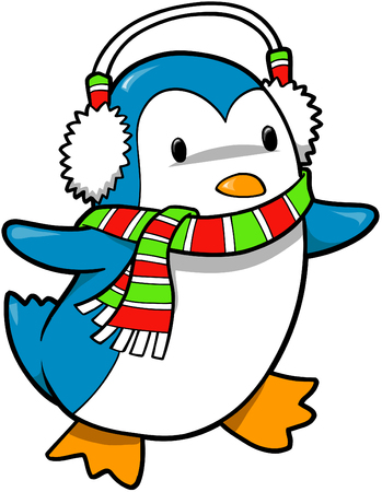 holiday: Christmas Holiday Penguin Vector Illustration Illustration