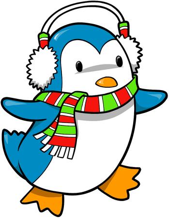 pinguinos navidenos: Vacaciones de Navidad Penguin ilustraci�n vectorial