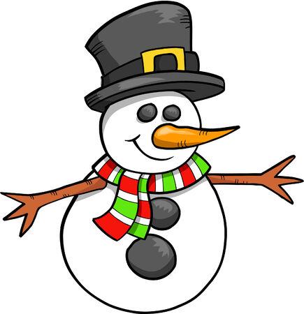 Christmas Holiday Snowman Vector Illustration Stock Vector - 2103950