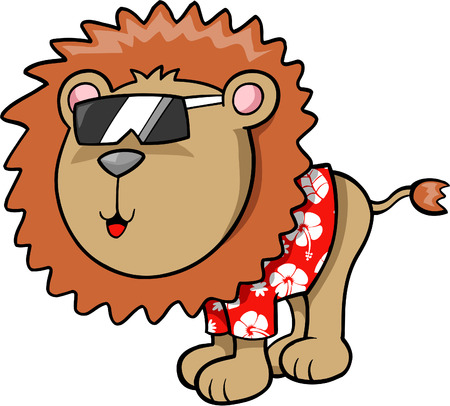 plains: Tropical Lion Vector Illustration