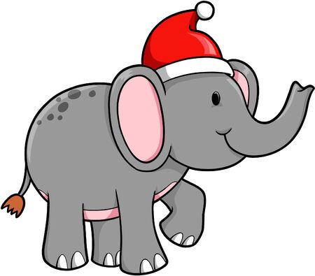 Christmas Elephant Vector Illustration Stock Illustratie