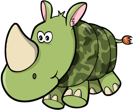 rhinoc�ros: Camo Rhino Vector Illustration