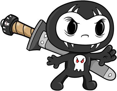 cartoon warrior: Cranio Ninja illustrazione vettoriale  Vettoriali