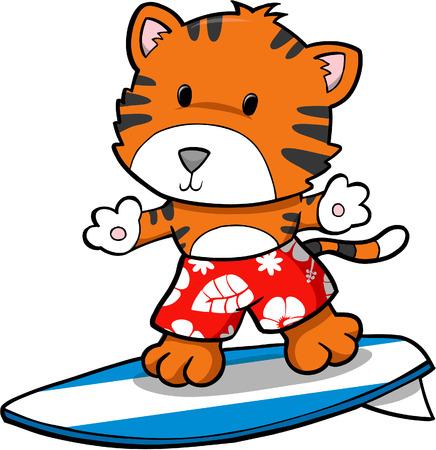 Vector Illustration of Surfing Tiger