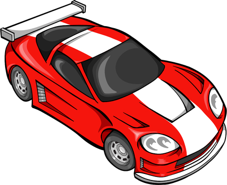 hotrod: Red Street Car Racer Vector Illustration