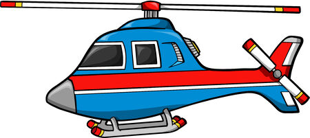 Rescue Helicopter Vector Illustration Çizim