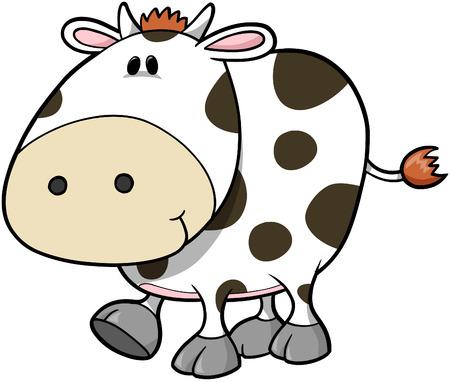 happy farmer: Cow Vector Illustration