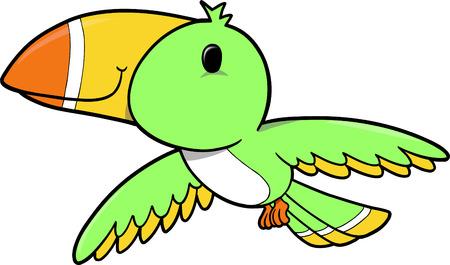 Tropical Bird Vector Illustration Иллюстрация