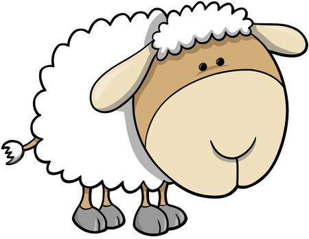 baa: Cute Sheep Vector Illustration
