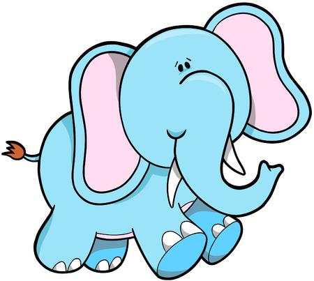 rainforest animals: Cute Elephant Vector Illustration