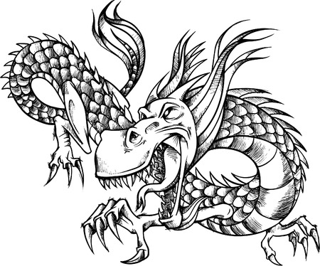 ferocious: Sketchy Dragon Vector Illustration
