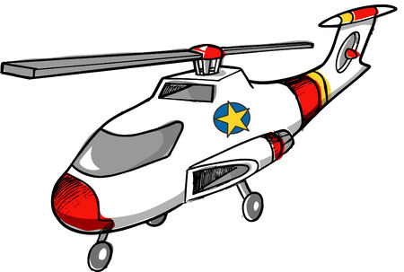 Sketchy Rescue Helicopter Vector Illustration