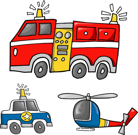 helicopter rescue: Rescue Team Vector Illustration