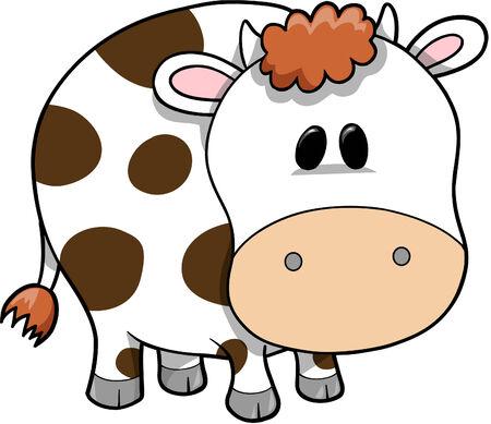 vaca caricatura: Ilustraciones Vectoriales de vaca