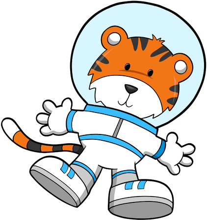 spacesuit: Tiger Astronaut Vector Illustration Illustration