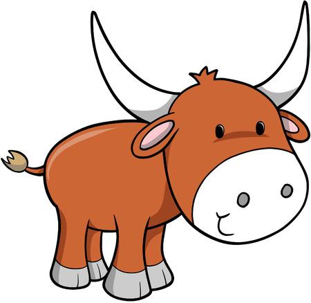 cow farm: Ox Illustrazione Vettoriale Vettoriali