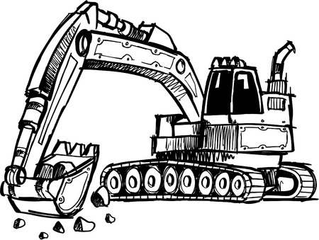 construction vehicle: Sketchy Digger Vector Illustration