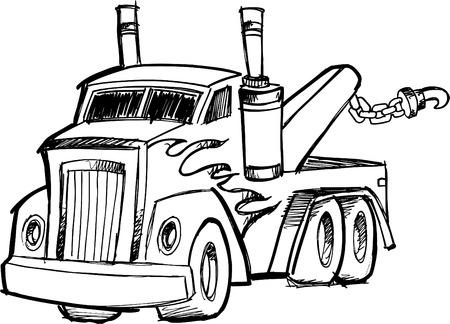 Sketchy Tow Truck Vector Illustration Çizim