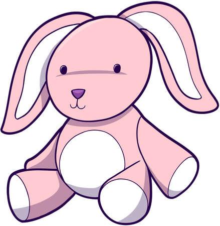 Pink Cute Bunny Vector Illustration