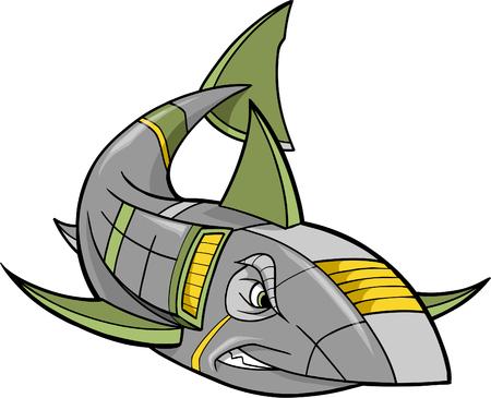 Robot Shark Vector Illustration