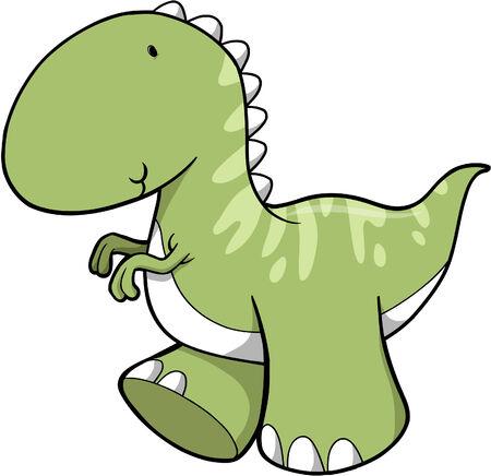 Cute Green Dinosaur Vector Illustration