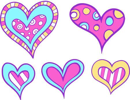 Heart Set Vector Illustration Vettoriali