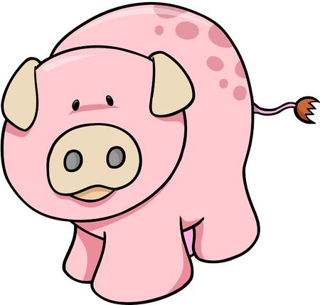 happy farmer: Pink Pig Vector Illustration