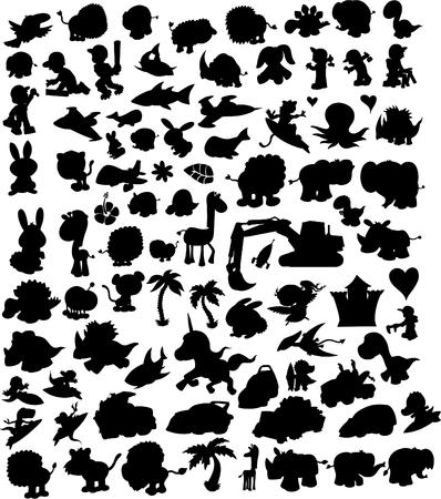 Unicorn fish: Vector Illustration Silhouette set