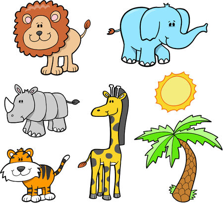 plains: Cute Animal Safari Set Vector Illustration