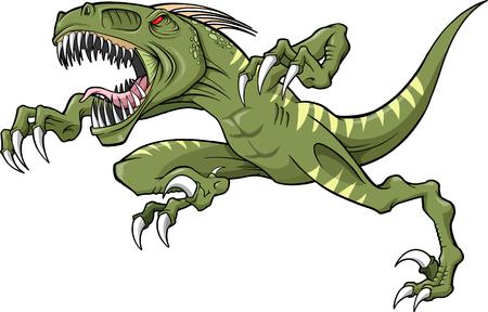 dangerous: Raptor Dinosaur Vector Illustration