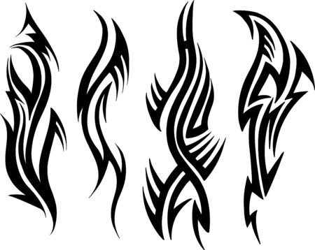 sharp curve: Tattoo Set Vector Illustration