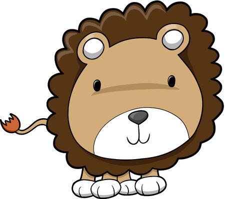 lion drawing: Cute Safari Lion Cub Illustrazione Vettoriale