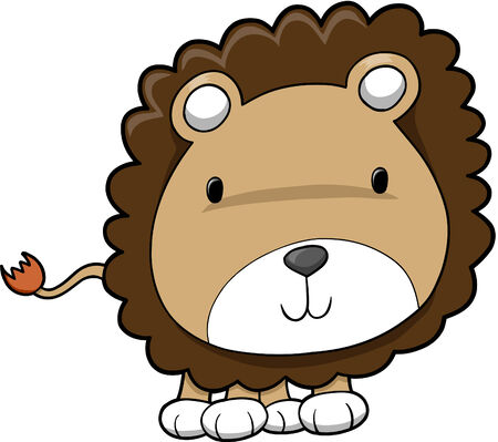 Cute Safari Lion Cub Vector Illustration