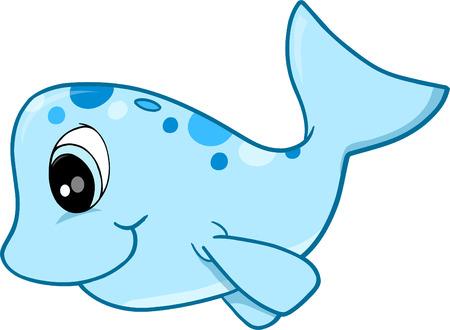 Cute walvis vectorillustratie