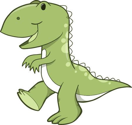 with illustration: Green Dinosaur Vector Illustration Illustration