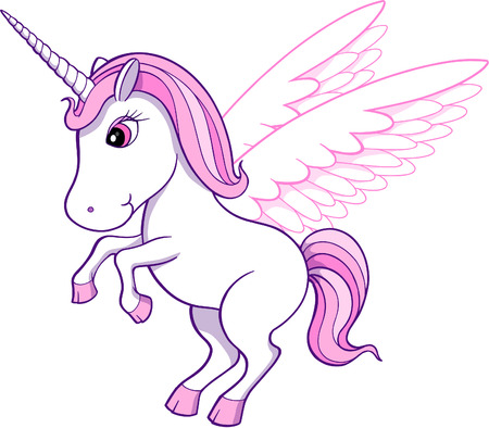 ponies: Unicorn Pegasus Vector Illustration