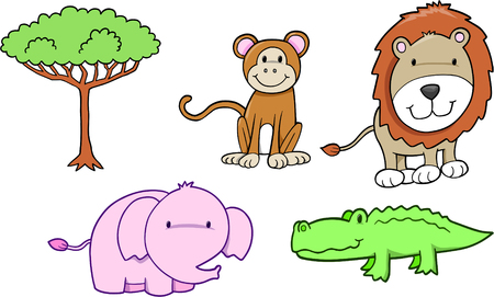 plains: Cute Safari Animal Set Vector Illustration