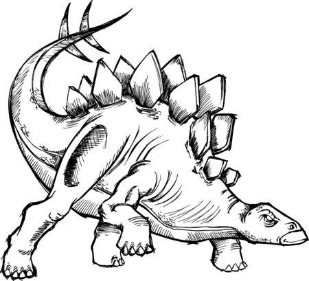 stegosaurus: Esquem�tica dinosaurio vector Illustraton