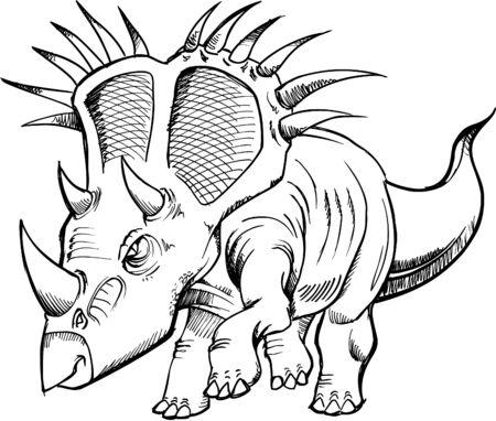 스케치 공룡 벡터 일러스트 레이션