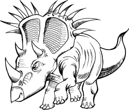 Sketchy Dinosaur Vector Illustraton Vector