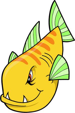 Mean fish Vector Illustration Vector