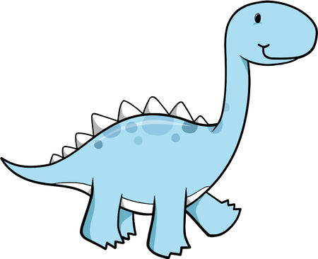 Blue Dinosaur Vector Illustration Ilustrace